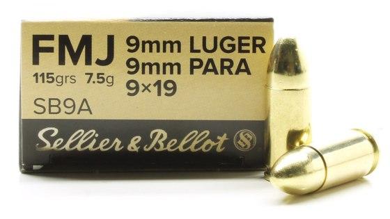 SELLIER & BELLOT- HANDGUN AMMO 9MM LUGER 115GR